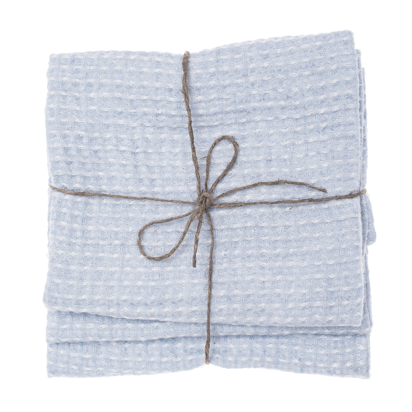 linen towel waffle light blue set face hand