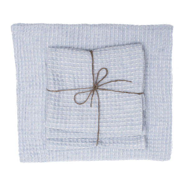 linen towel waffle light blue set face hand bath