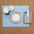 linen placemat stonewashed light blue linen napkin grey