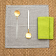 linen placemat fishbone grey linen napkin lime green