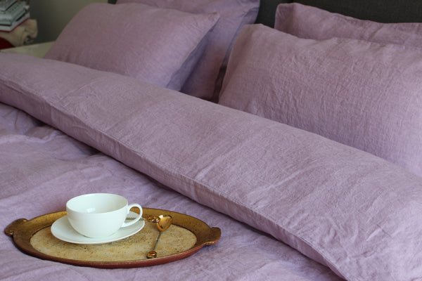 Brilliant Lavender Linen Bed Set | 2 Brilliant Lavender Stonewashed Linen Pillow Cases | 1 Duvet Cover