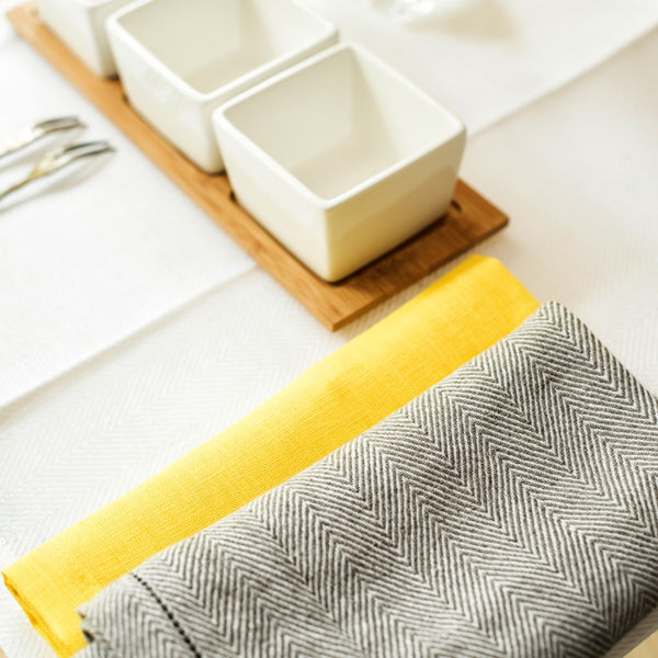 Set of Two Fishbone Linen Placemats and Four Linen Napkins