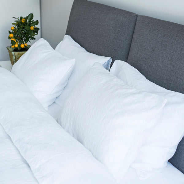 White Linen Bed Set | 2 White Stonewashed Linen Pillow Cases | 1 Duvet Cover + FREE GIFT