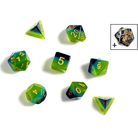 SIRIUS DICE - GREEN BLUE TRANSLUCENT 7 DIE SET - Toypocalypse
