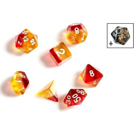SIRIUS DICE - YELLOW RED TRANSLUCENT 7 DIE SET - Toypocalypse