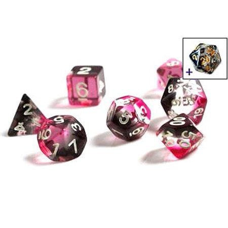 SIRIUS DICE - PINK CLEAR BLACK RESIN 7 DIE SET - Toypocalypse