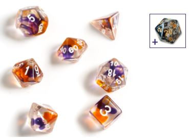 SIRIUS DICE - PURPLE ORANGE CLEAR 7 DIE SET - Toypocalypse