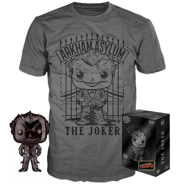 The Joker (Arkham Asylum) (Black Chrome) and Arkham Asylum Joker Tee (LG) [NYCC Debut] freeshipping - Toypocalypse