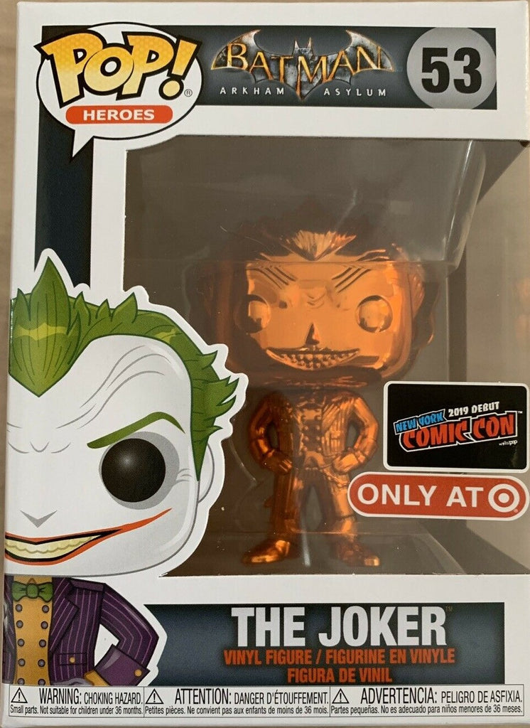 NYCC Target Exclusive 2019 Funko Pop Batman Arkham Asylum JOKER 53 Orange Chrome freeshipping - Toypocalypse