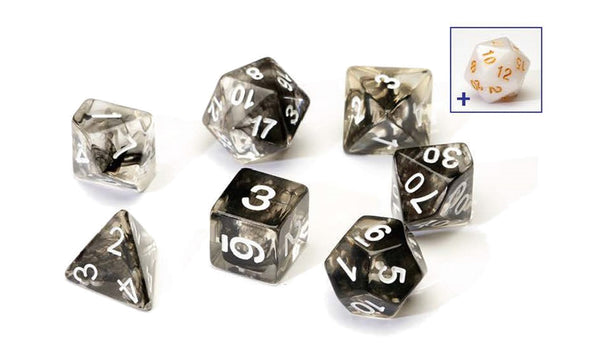 SIRIUS DICE BLACK CLOUD TRANSPARENT 7 DIE SET - Toypocalypse