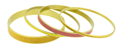 A collection of pigmented concrete brass bangle bracelets in orange, red and yellow colors