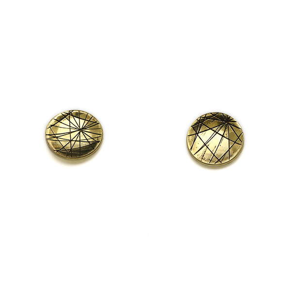 Concave Etched Large Studs BRASS