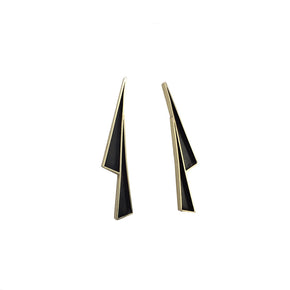 Lightning Shadow Earrings in Brass