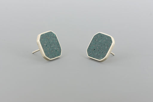 Cluster Stud Earrings SILVER + CONCRETE Ocean Green