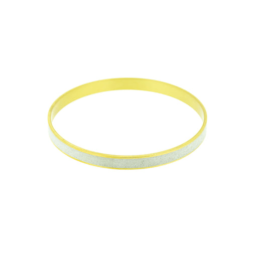 "Moonwalk White Pigmented Concrete Brass Bangle Bracelet Standard Gauge 1/4"" or 6mm width"