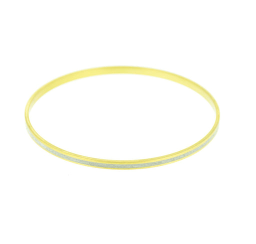 "Moonwalk White Pigmented Concrete Brass Bangle Bracelet Narrow Gauge 1/8"" or 3mm width"