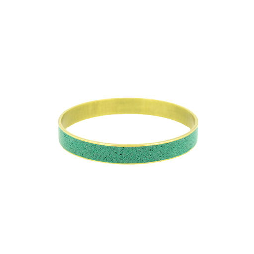"Ocean Green Pigmented Concrete Brass Bangle Bracelet Broad Gauge 3/8"" or 12mm width"