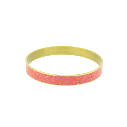 "Rooster Red Pigmented Concrete Brass Bangle Bracelet Broad Gauge 3/8"" or 12mm width"