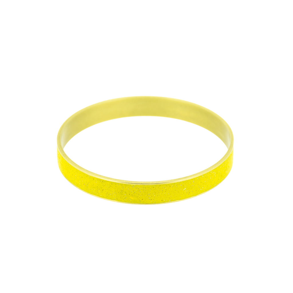 "Mustard Yellow Pigmented Concrete Brass Bangle Bracelet Broad Gauge 3/8"" or 12mm width"