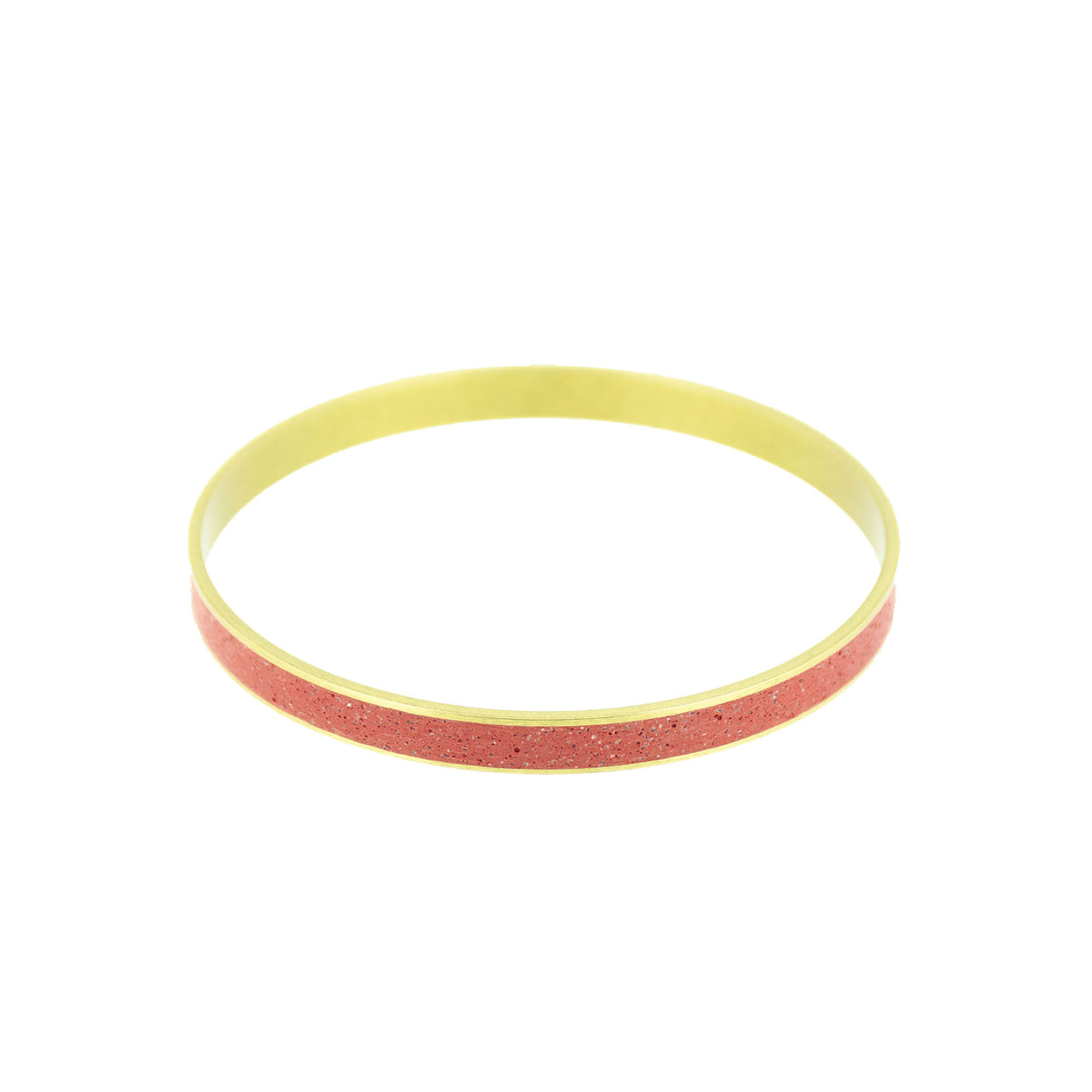 Standard Gauge Bangle Bracelet BRASS + CONCRETE Red