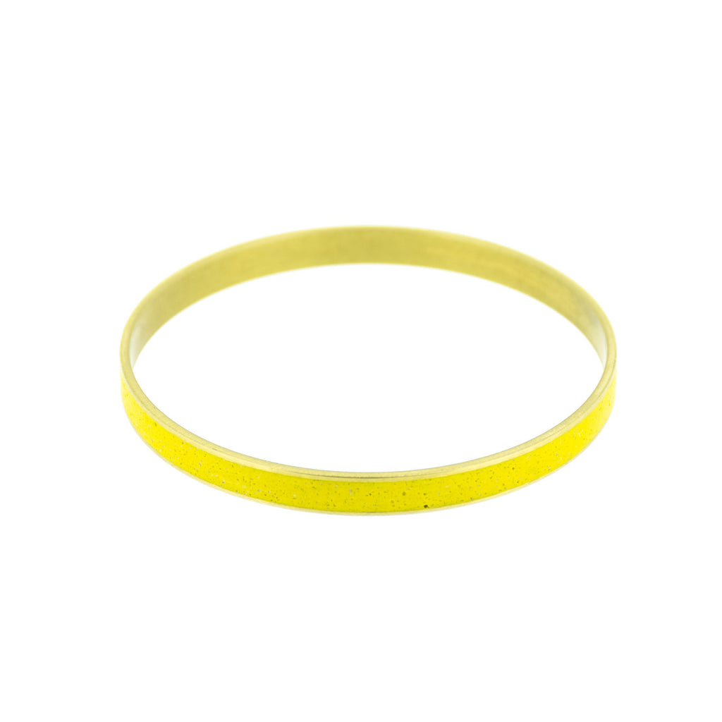 "Mustard Yellow Pigmented Concrete Brass Bangle Bracelet Narrow Gauge 1/8"" or 3mm width"