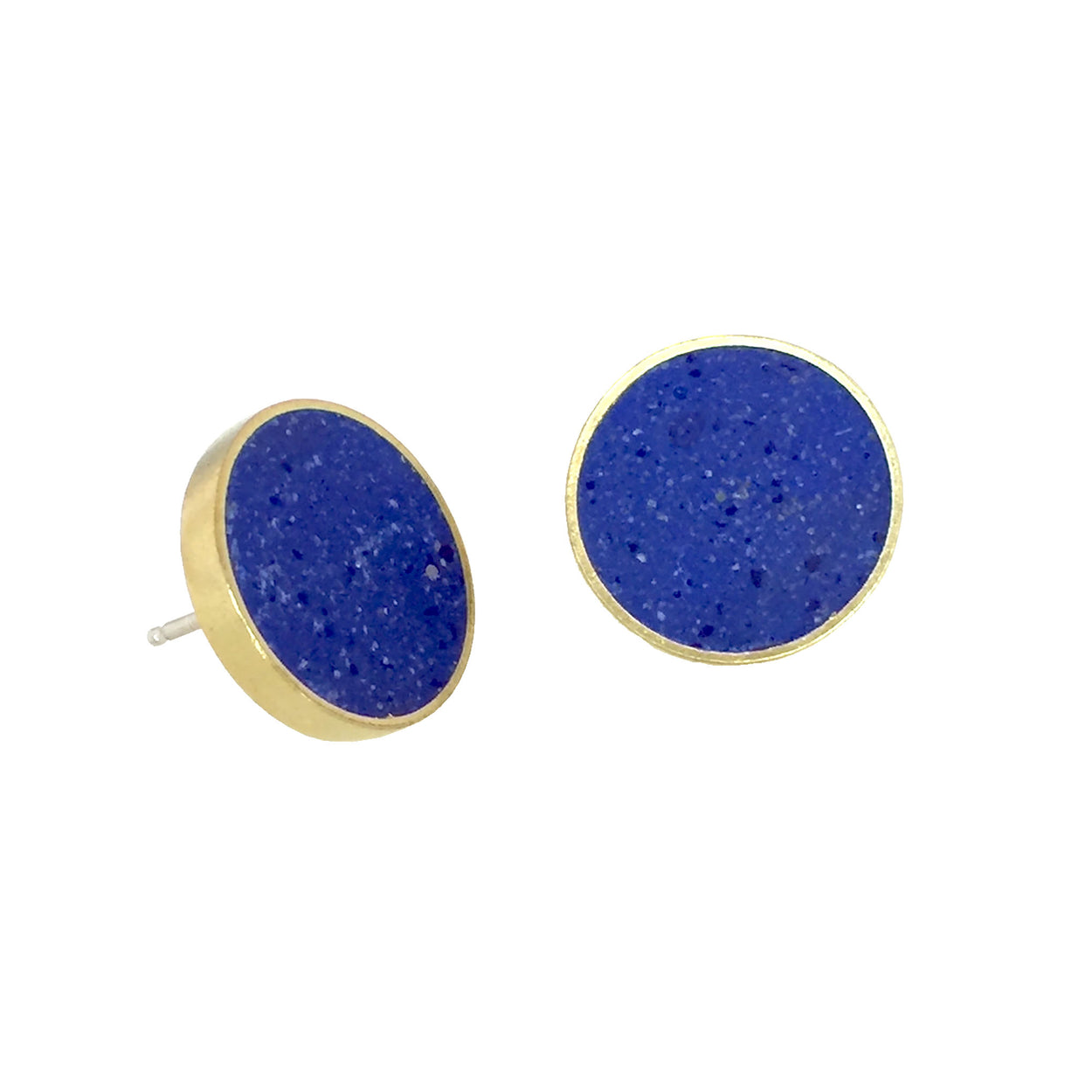 Concrete cluster earrings with blue pigmented concrete in a brass circle shaped setting