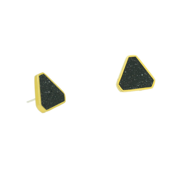 Concrete cluster earrings with black pigmented concrete in a brass triangle shaped setting