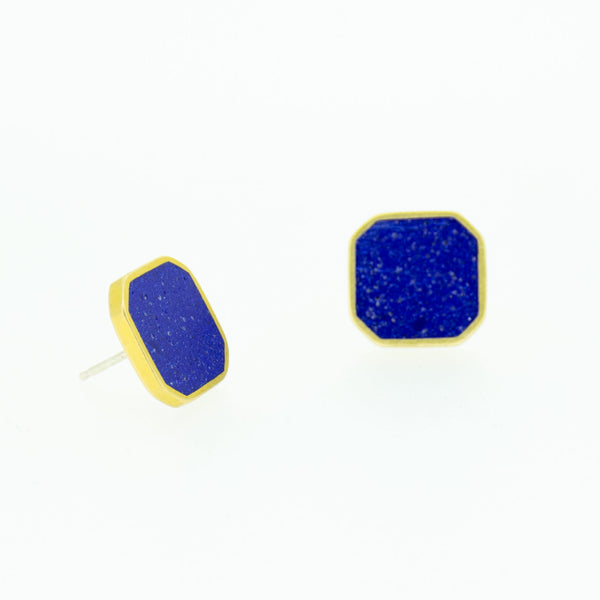 CLUSTER STUD EARRINGS BRASS + CONCRETE Blue