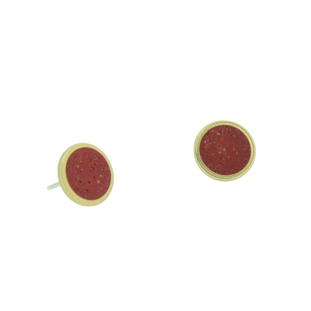 Small Stud Earrings  BRASS + CONCRETE Red