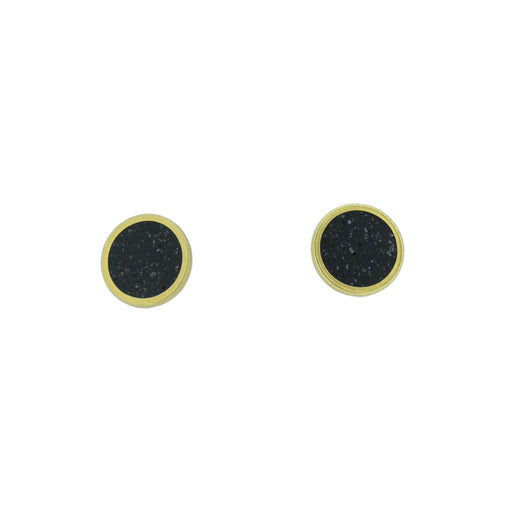 Small Stud Earrings  BRASS + CONCRETE Black