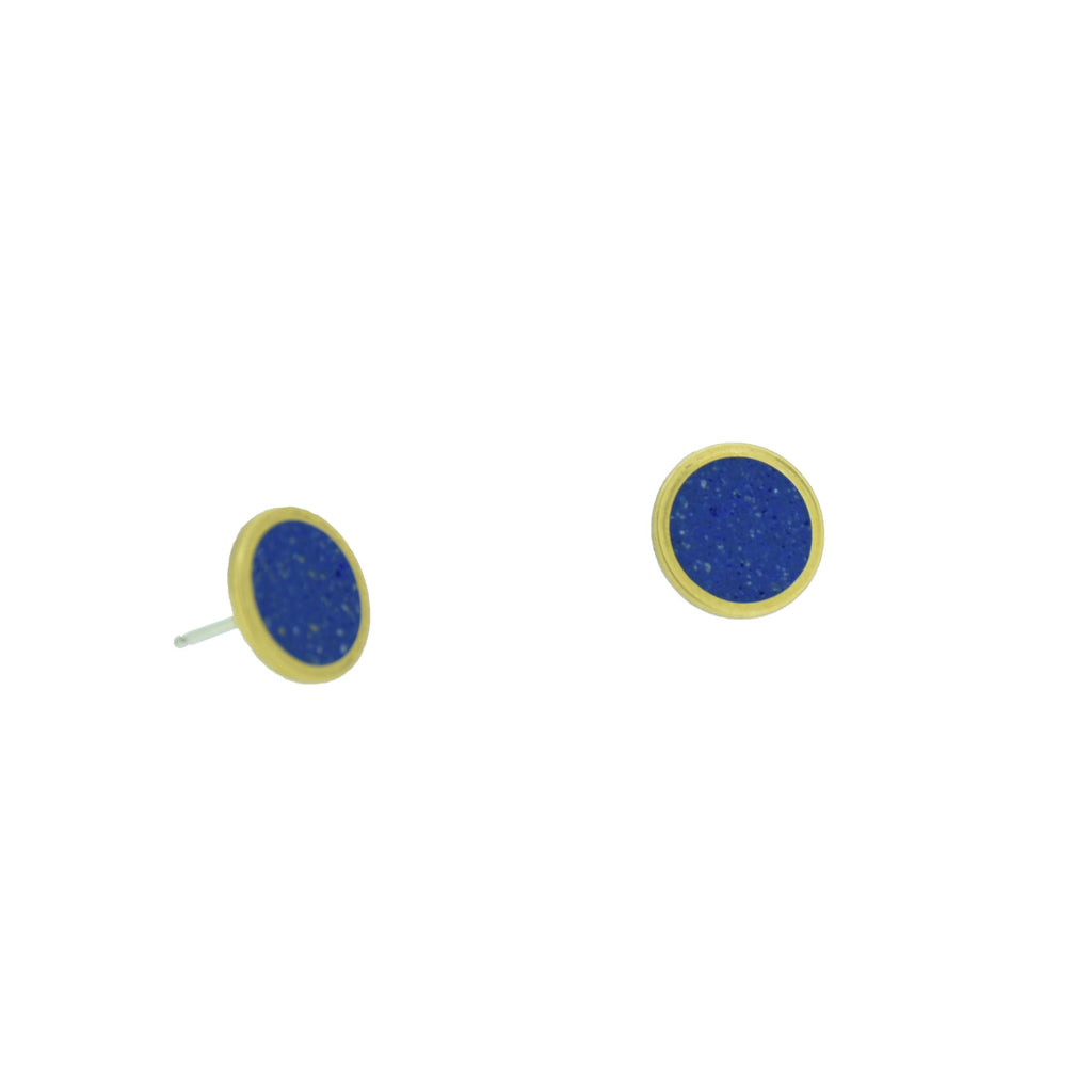 Small Stud Earrings  BRASS + CONCRETE Blue