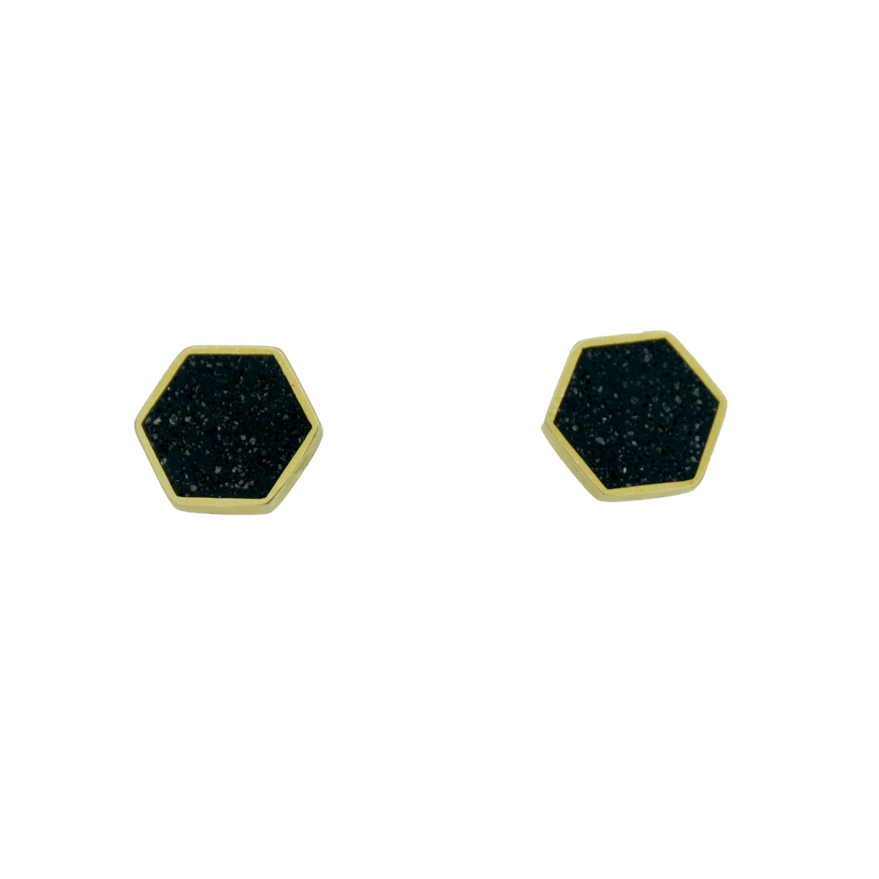 CLUSTER STUD EARRINGS BRASS + CONCRETE Black