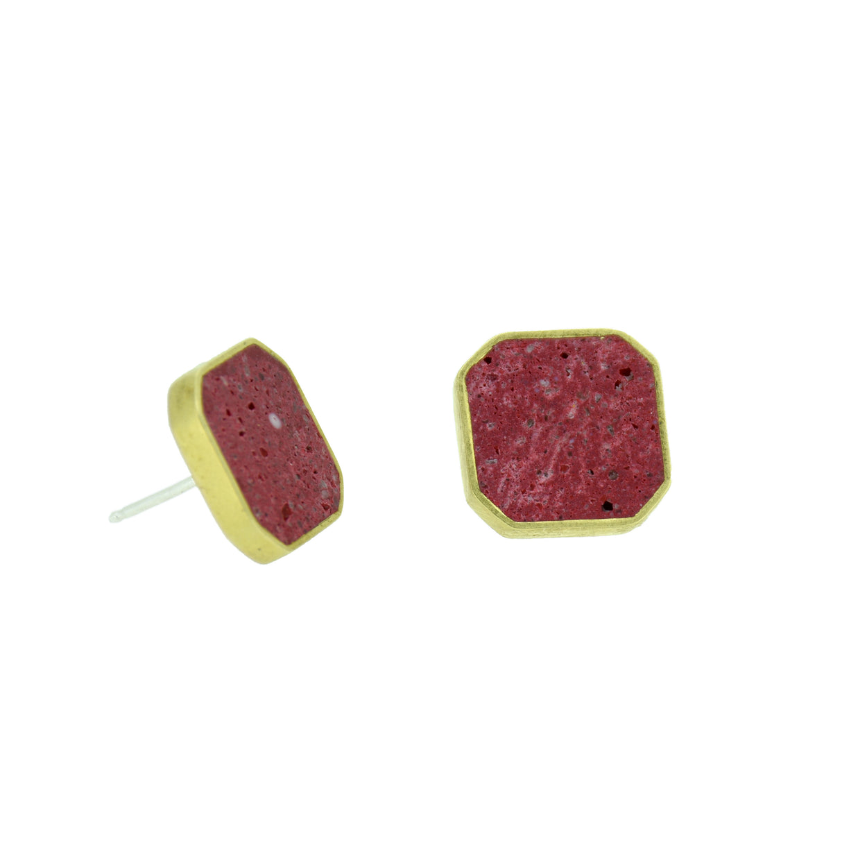 Concrete cluster earrings with red pigmented concrete in a brass octagon shaped setting