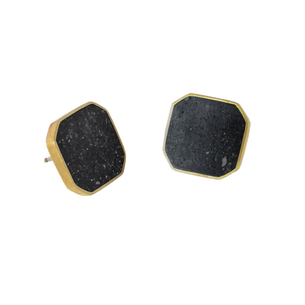Concrete cluster earrings with black pigmented concrete in a brass octagon shaped setting