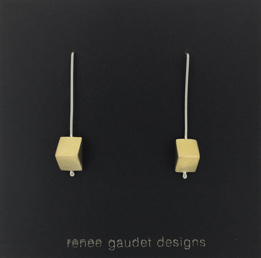 Cut Corners Drop Earrings SILVER + BRASS