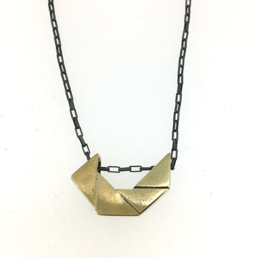 Robotic Cut Corners Necklace BRASS