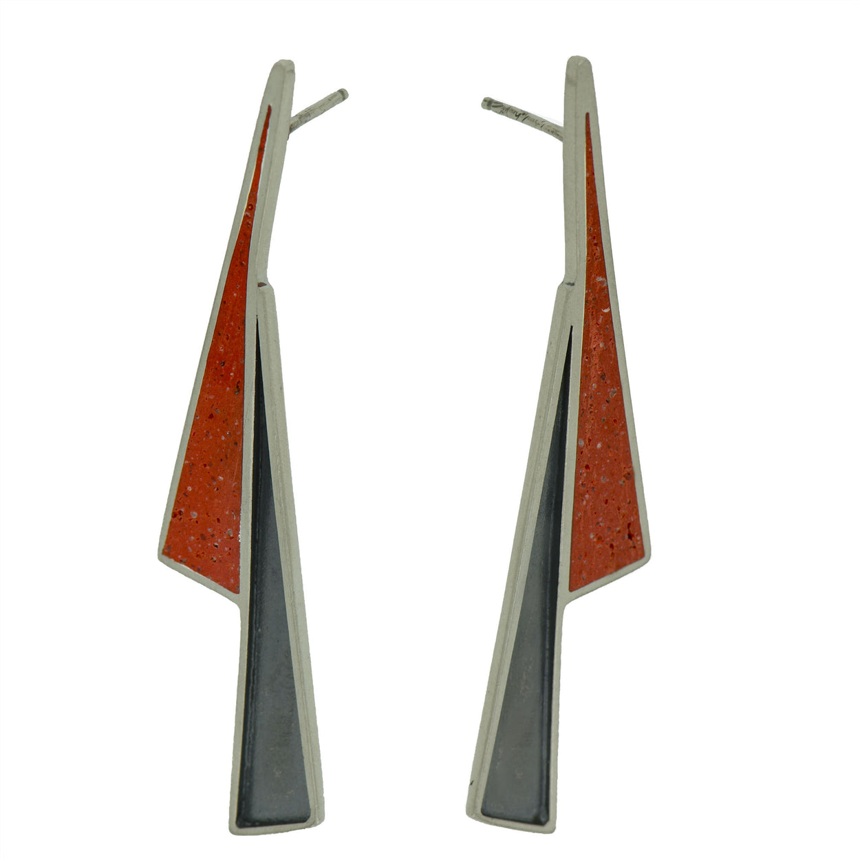 Lightning Shadow Earrings SILVER + CONCRETE Red