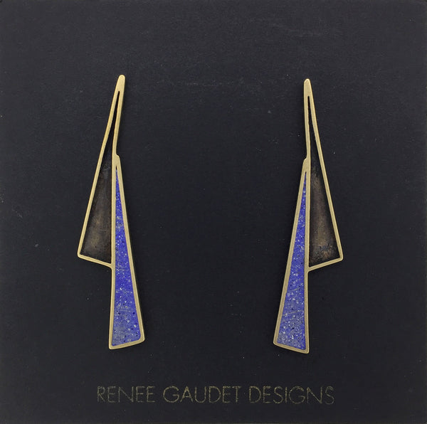Lightning Shadow Earrings BRASS + CONCRETE Blue