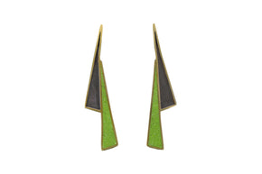Lightning Shadow Earrings BRASS + CONCRETE Lime Green