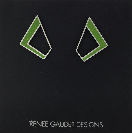 Not Round Earrings SILVER + CONCRETE Lime Green