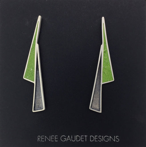 Lightning Shadow Earrings SILVER + CONCRETE Lime Green