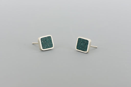 Square Stud Earrings SILVER + CONCRETE Ocean Green