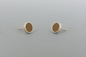 Small Stud Earrings SILVER + CONCRETE Brown