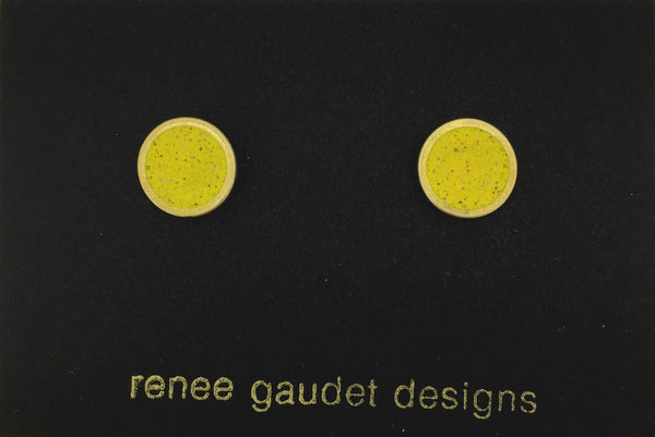 Small Stud Earrings  BRASS + CONCRETE Yellow
