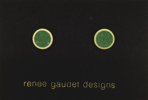 Small Stud Earrings  BRASS + CONCRETE Green