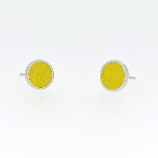 Small Stud Earrings SILVER + CONCRETE Yellow