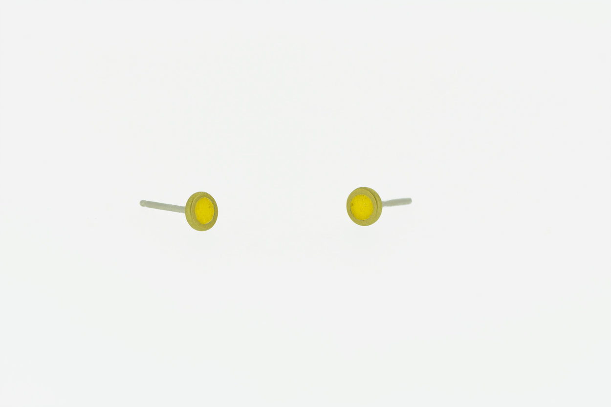 Tiny Stud Earrings  BRASS + CONCRETE Yellow