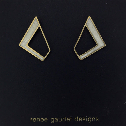 Not Round Earrings BRASS + CONCRETE