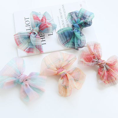 Charming Check Bow Hair Clips Set (Set of 5) 6AA7