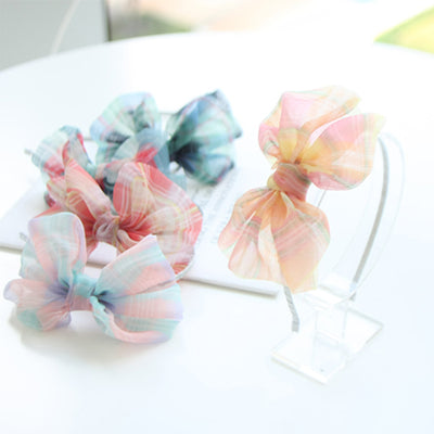 Charming Check Bow Hair Bands (Set of 5) 6AA7B